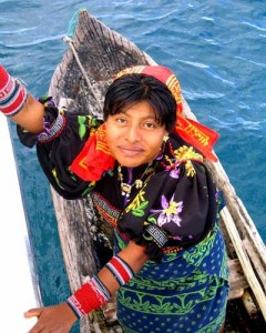 Kuna Woman in Canoe