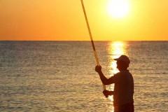 Man Pole Fishing on Beach
