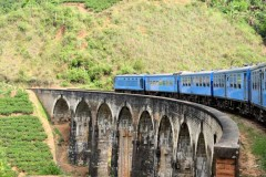 Train on a Bridge in the Hill Country,  Sri Lanka